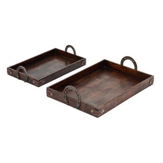 Benzara Brown Wood/Metal/Leather Contemporary Tray (Set of 2)