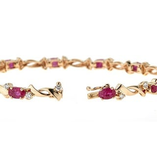 14K Yellow Gold Ruby and Diamond Bracelet by Anika and August