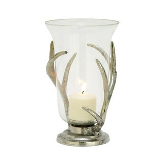 Benzara Graceful Aluminum and Glass Hurricane Candle Holder