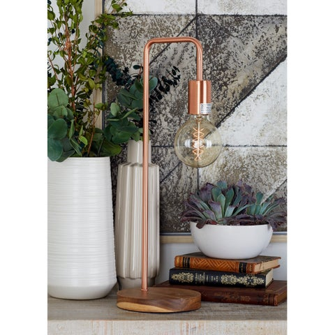 Industrial 21 inch Iron Lamp with Exposed Bulb by Studio 350