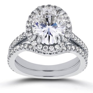 Annello by Kobelli 14k White Gold 3ct Oval Moissanite and 3/5ct TDW Diamond Halo 2-Piece Bridal Set (G-H, I1-I2