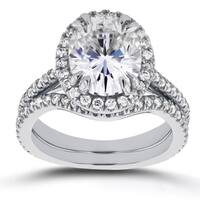 Annello by Kobelli 14k White Gold 3ct Oval Moissanite and 3/5ct TDW Diamond Halo 2-Piece Bridal Set (G-H, I1-I2