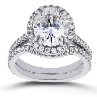 Annello by Kobelli 14k White Gold 3ct Oval Moissanite (HI) and 3/5ct TDW Diamond Halo 2-Piece Bridal Set (G-H, I1-I2