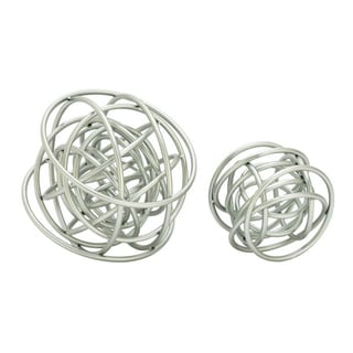 Benzara Silver Metal 2-piece Orb Decor Set