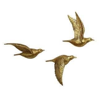 Benzara Golden Polystone Bird Wall Decor (Set of 3) - Thumbnail 0