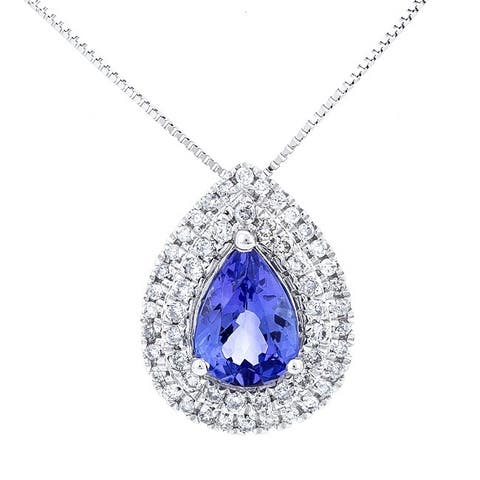 14K White Gold Tanzanite and Diamond Pendant by Anika and August