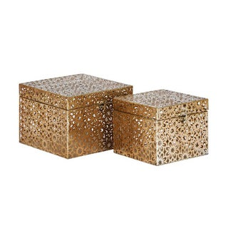 Benzara Wonderful Metal Square Box (Set of 2)