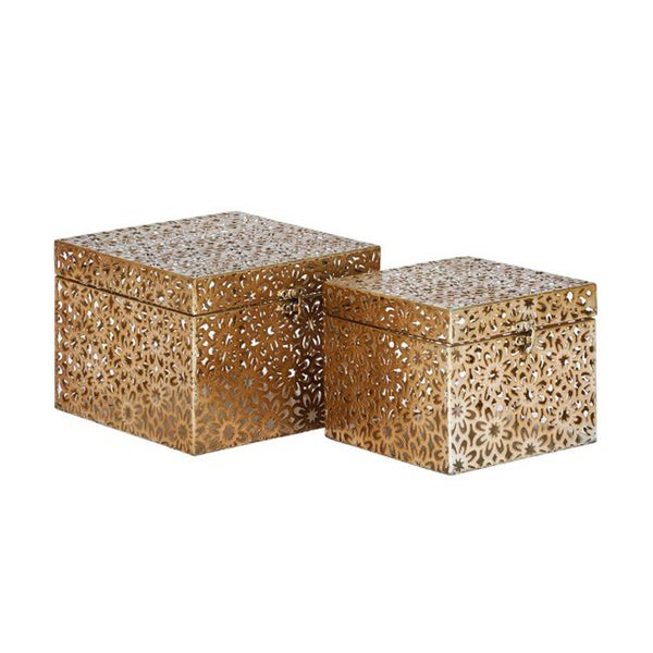 The Curated Nomad Belli Metal Square Boxes (Set of 2)