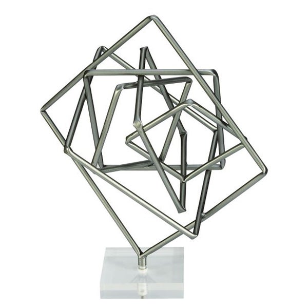 Benzara Unique Metal and Acrylic Geometric Sculpture