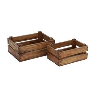 Pine Canopy Alstroemeria Wood Storage Crates (Set Of 2)
