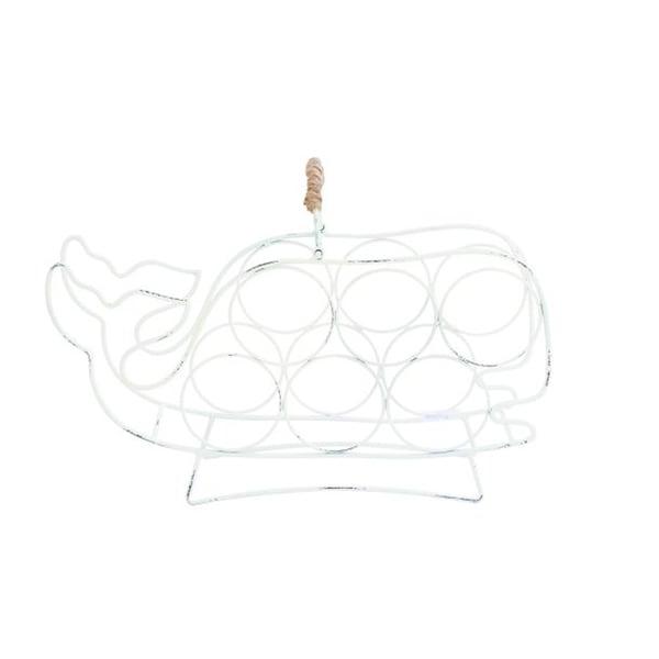 Benzara White Iron Whale-shaped Wine Holder