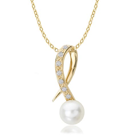 Avanti 14K Yellow Gold Freshwater Pearl and Diamond Pendant Necklace (G-H, SI2-SI3)