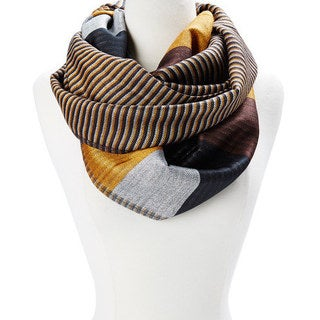 Multicolor Acrylic Striped Block Design Infinity Scarf