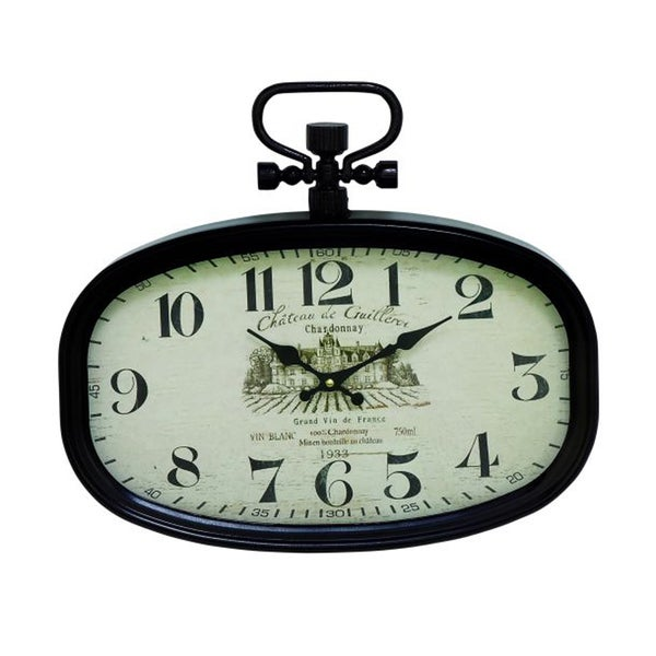 Benzara Black Iron Oval Wall Clock with White Face