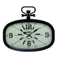 Copper Grove Chatfield Black Metal Oval Wall Clock