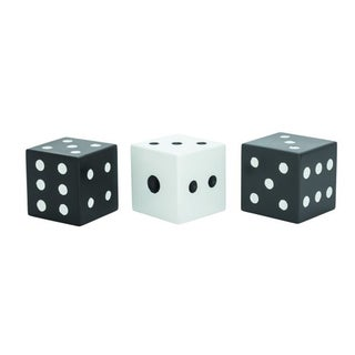 Benzara Black/White Wood Dice (Pack of 3)