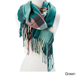 Multicolore Wool/Acrylic Plaid Winter Scarf with Fringes