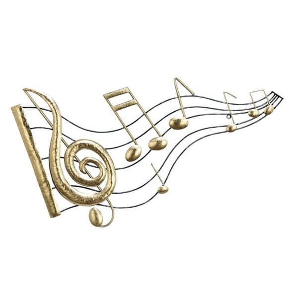 Benzara Black And Gold Colored Metal Music Notes Wall