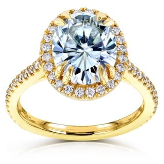 Annello by Kobelli 14k Yellow Gold 3ct Oval Moissanite and 3/8ct TDW Diamond Halo Engagement Ring (G-H, I1-I2)