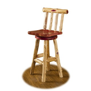 RUSTIC RED CEDAR LOG SWIVEL STOOL WITH BACK