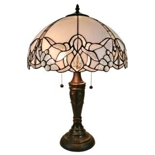 Amora Lighting Tiffany-style Jeweled White Table Lamp