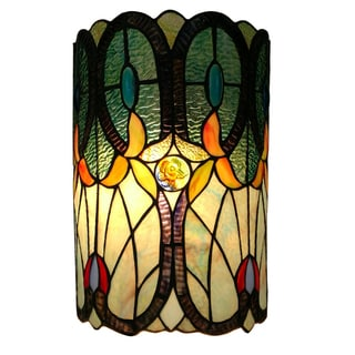 Amora Lighting Tiffany-style, Double-light Floral Wall Sconce
