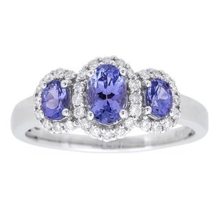 10K White Gold Tanzanite and Diamond Ring by Anika and August