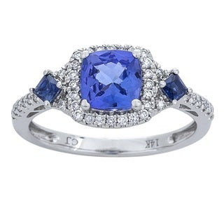 14K White Gold Tanzanite, Blue Sapphire and Diamond Ring by Anika and August