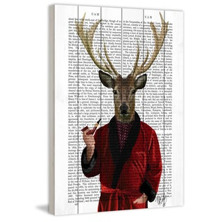 Marmont Hill - 'Deer in Smoking Jacket' Painting Print on White Wood