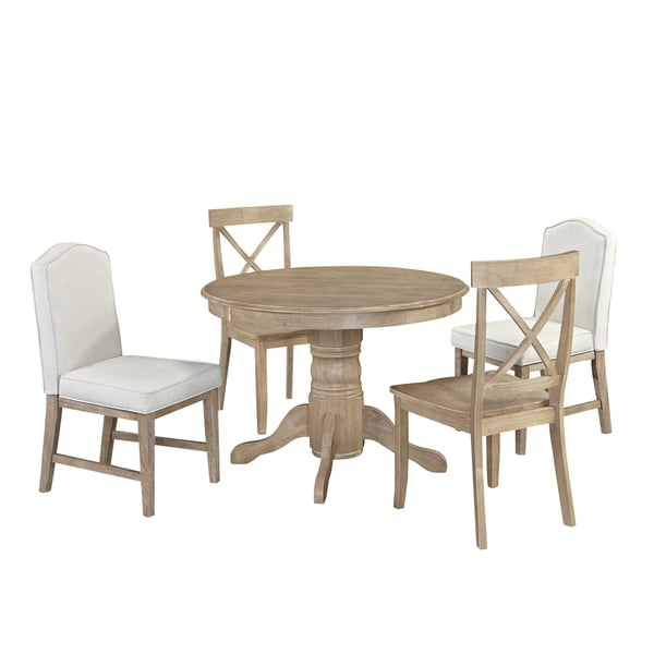 Classic 5 Piece Dining Set In White Wash Finish By Home Styles Free Shippin
