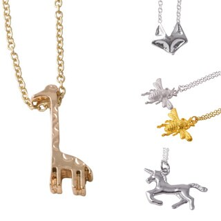 Yellow Goldtone Stainless Steel Animal Charm Necklace