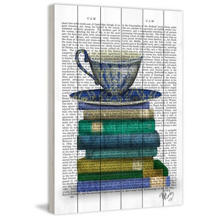 Marmont Hill - 'Teacup and Books' Painting Print on White Wood