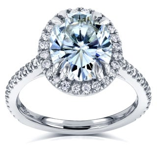 Annello by Kobelli 14k White Gold 3ct Oval Moissanite and 3/8ct TDW Diamond Halo Engagement Ring (G-H, I1-I2)