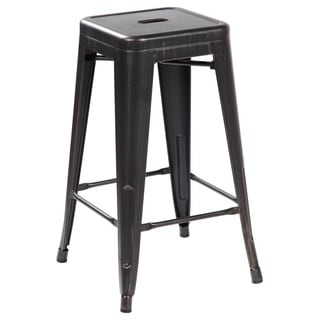 26.4-inch Seat Height Iron Industrial Counter-height Dining Bar Stool (Set of 2)