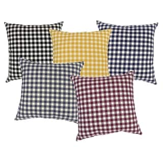 Check Cotton and Polyester 17-inch Square Throw Pillows (Pack of 2)