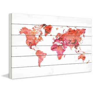 Marmont Hill - 'Warm Continents' by Dani Jay Painting Print on White Wood