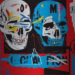 Marmont Hill - 'Two Skulls I' by Josh Ruggs Painting Print on Brushed Aluminum