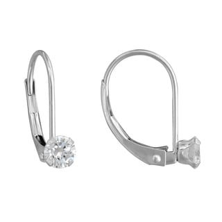 10k White Gold Cubic Zirconia Stud Leverback Earrings