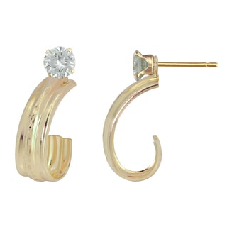 10k Gold Cubic Zirconia Diamond Cut 'J' Hoop Enhancer