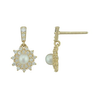 Women's 10k Yellow Gold With Cubic Zirconia and Pearls Drop Earring