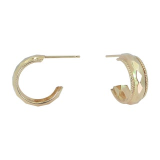 10k Gold Faceted Hoops with Beaded Edge