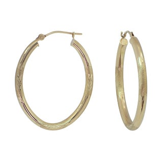 Women's 10k Gold Diamond-cut Oval Hoop Earrings