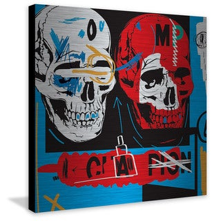 Marmont Hill - 'Two Skulls II' by Josh Ruggs Handmade Painting Print on Brushed Aluminum (United States)
