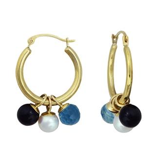 10k Gold Pearl, Black Onyx, and Blue Topaz Hoop Earrings