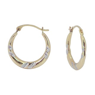 10k Two-tone Gold Hollow Hoop Earrings