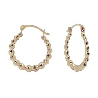 10k Gold Beaded Hoop Earrings