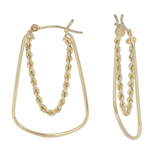 10k Gold Hoop Earring with Rope Chain Dangle Inside Free