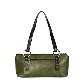 Donna Bella Rina Rich Green Faux Leather Compact Handbag