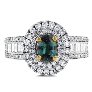 18k White or Yellow Gold Fine Brazilian Alexandrite and 1 1/3 ct TDW Diamond Ring by La Vita Vital (VS-SI1, G-H)
