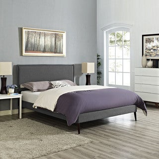 Camille Fabric Platform Bed with Round Tapered Legs in Gray